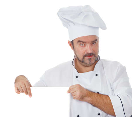 mediterranea: Chef cook showing at blank board isolated on white