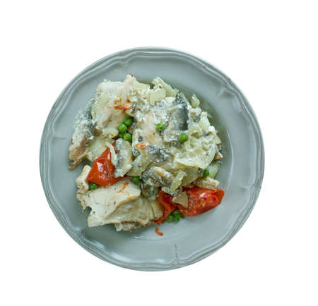 fricassee: Chicken fricassee with mushrooms and cream style of Alsace - Plat Alsacien