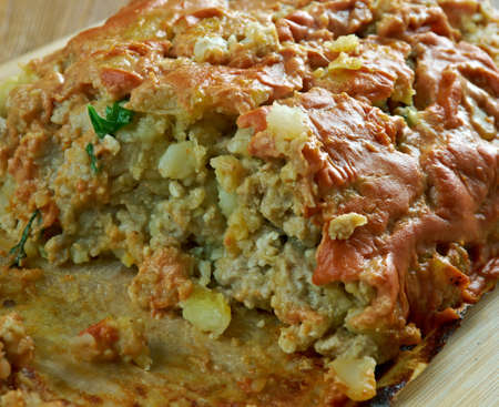 albondigas: Italian Turkey, Potato , Zucchini Meatloaf Foto de archivo