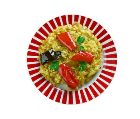 karnataka culture: Vangibath  South Indian dish originated in Karnataka fried brinjal rice