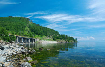 viaducts: Circum-Baikal railroad on the coast of Lake Baikal. viaducts