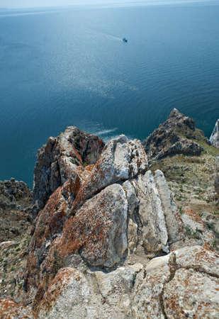 shamanism: rocky shore  near Cape Khoboy Olkhon island, lake Baikal, Siberia, Russia