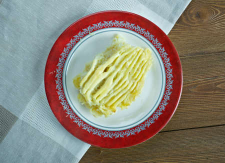 bacalao: Brandade de morue emulsion of salt cod and olive oil eaten in winter with bread or potatoes.