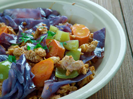 christmas dish: punakaalipata - red cabbage with minced meat.Finnish Christmas dish Stock Photo