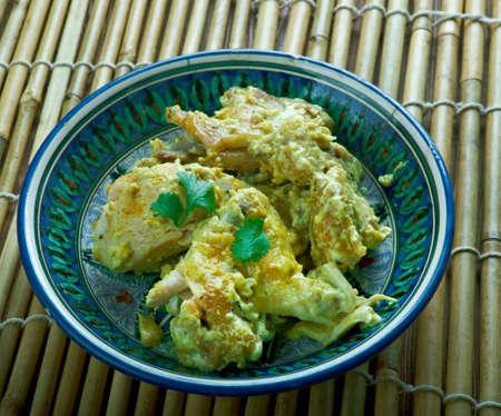 Egyptian chicken fried chicken in the sauce. Mediterranean cuisine