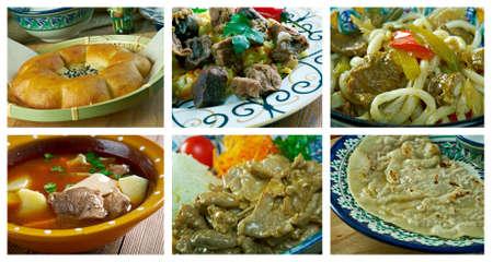 Food set oriental Uzbek cuisine.collage