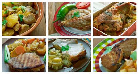 loci: Food set of different pork meat . collage.