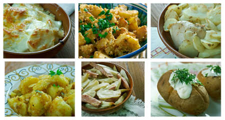 bil: Food set of different  Potatoes dishi . collage