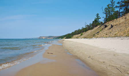 shamanism: peschanka -bay with a sandy beach . Olkhon island, lake Baikal, Siberia, Russia