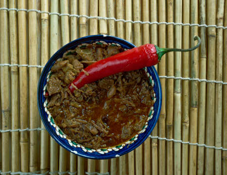 filipino: Dinuguan Filipino stew made from Pork and Pig blood Stock Photo