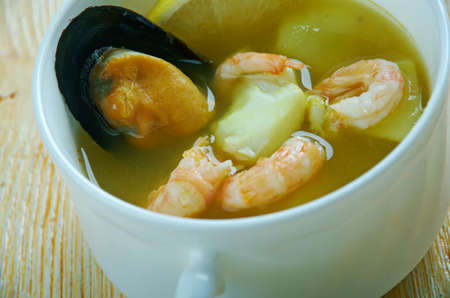 Cahuamanta  Mexican seafood dish made with manta ray and shrimp Stock Photo