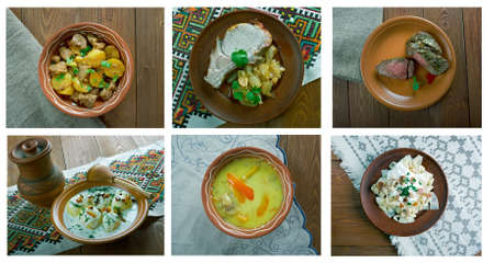 loci: European cuisine.Food set Stock Photo