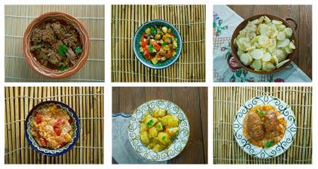 bil: Food set oriental cuisine.collage Stock Photo