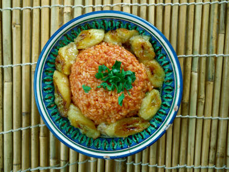 nigerian: jollof rice with fried plantains,Nigerian cuisine