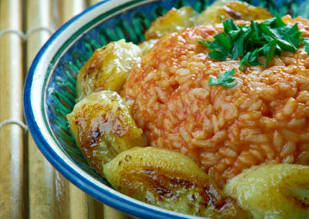 jollof rice with fried plantains, Nigerian cuisine