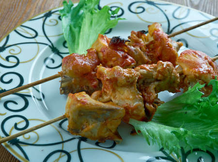 pakistani food: Shish Tawook Grilled Chicken   traditional marinated chicken shish kebab of Middle Eastern cuisine Stock Photo