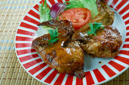 Smoked Texan chicken wings.Great for lunch, a barbecue or picnic Stock Photo