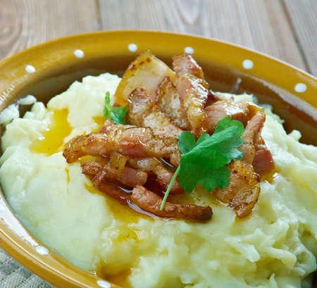 bacon love: Burning Love - traditional Danish dish.mashed potatoes and fried bacon Stock Photo