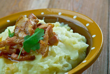 bacon love: Burning Love   - traditional Danish dish.mashed potatoes and fried bacon
