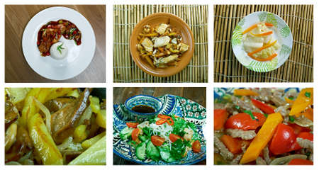 girdle: Food set of different chinese cuisine . collage Stock Photo