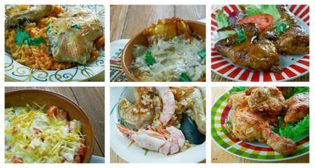 comores: Food set of different chicken meat . collage. Stock Photo