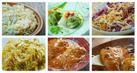 farci: Food set of different  cabbage dishi . collage