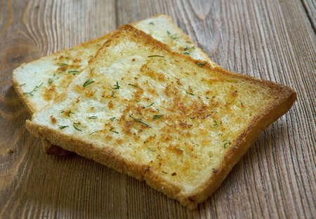 both sides: Texas toast toast itself is made by putting butter or margarine on both sides Stock Photo