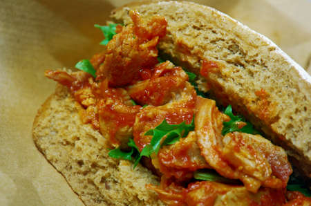 rou: Rou jia mo  street food originating from Shaanxi Province and now widely consumed all over China