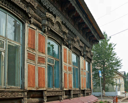 Ulan-Ude city. Carving on the window frames in old wooden house  Russia. July 25, 2016 Editorial