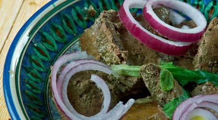 mazza Uzbek dish - roast lamb liver. Central Asian cuisine