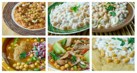 Food set of different Chickpea  dishi . collage