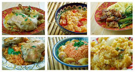 comores: Food set of different rice  dish . collage