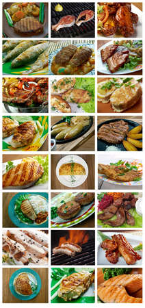 loci: Food mega set of different Grilled roasted meal Stock Photo