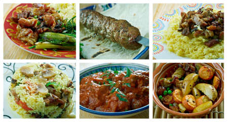 Food set of different lamb  meat . collage