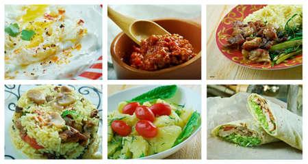 Food set oriental Turkish cuisine.collage