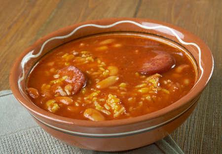 chorizo: Chorizo, Rice and Bean Soup.Spanish cuisine Stock Photo