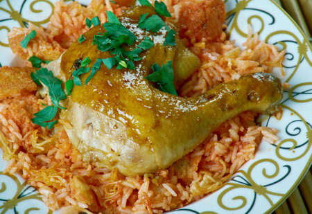 Egyptian Faatah Rice And chicken Meat With Crispy Bread On Bottom Stock Photo
