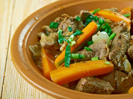Braised beef with green onions in the Chinese style