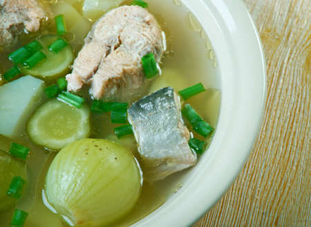 solyanka: Russian fish solyanka soup with salmon
