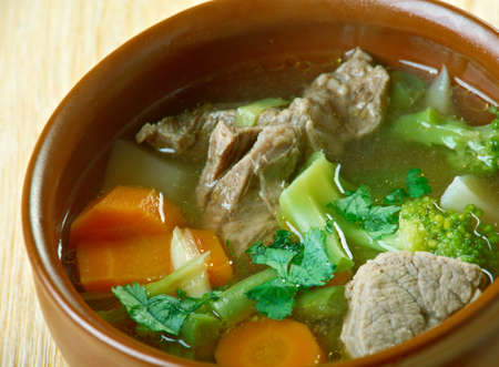 carnes y verduras: Spring Soup Called Garmugia -soup in Italian cuisine that originated in Lucca, Tuscany, central Italy