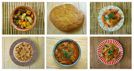 bil: Food set African traditional cuisine.collage