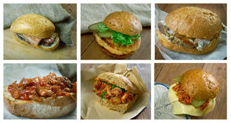 rou: Food set of different  Sandwich . collage Stock Photo