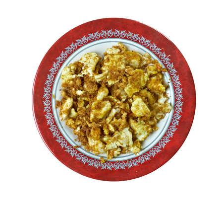 Farofa de ovos egg with flour or cassava.Latin Kitchen