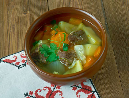 meat soup: Perinteinen lihakeitto - Traditional Finnish meat soup Stock Photo