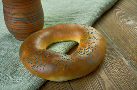 baranka: Bublik - traditional Eastern European bread roll.fresh russian bagels