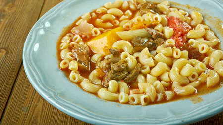 slow cooker: Slow Cooker  Beef and Tomato Macaroni Soup