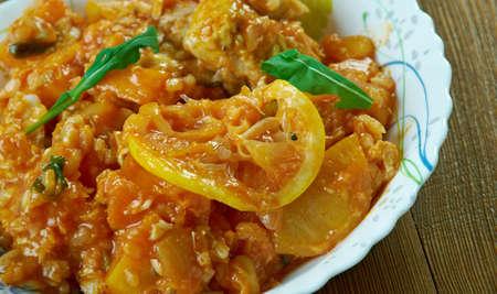Jamaican Pumpkin Rice Recipe With Saltfish Stock Photo