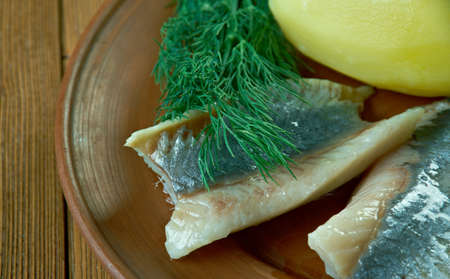 sillilautanen -  plate of assorted herring - Finnish traditional dinner