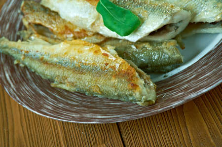 Fried smelt the Hamburg style. close up Stock Photo