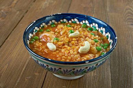 karnataka: Bisi Bele Bath - rice-based dish with origins in the state of Karnataka, India. hot lentil rice